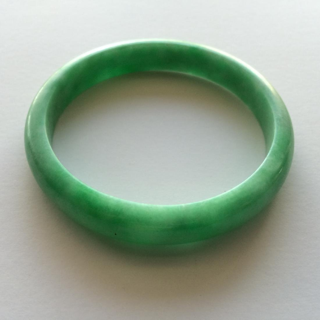 Old Carved Pale Green Fine Jade Bangle Bracelet