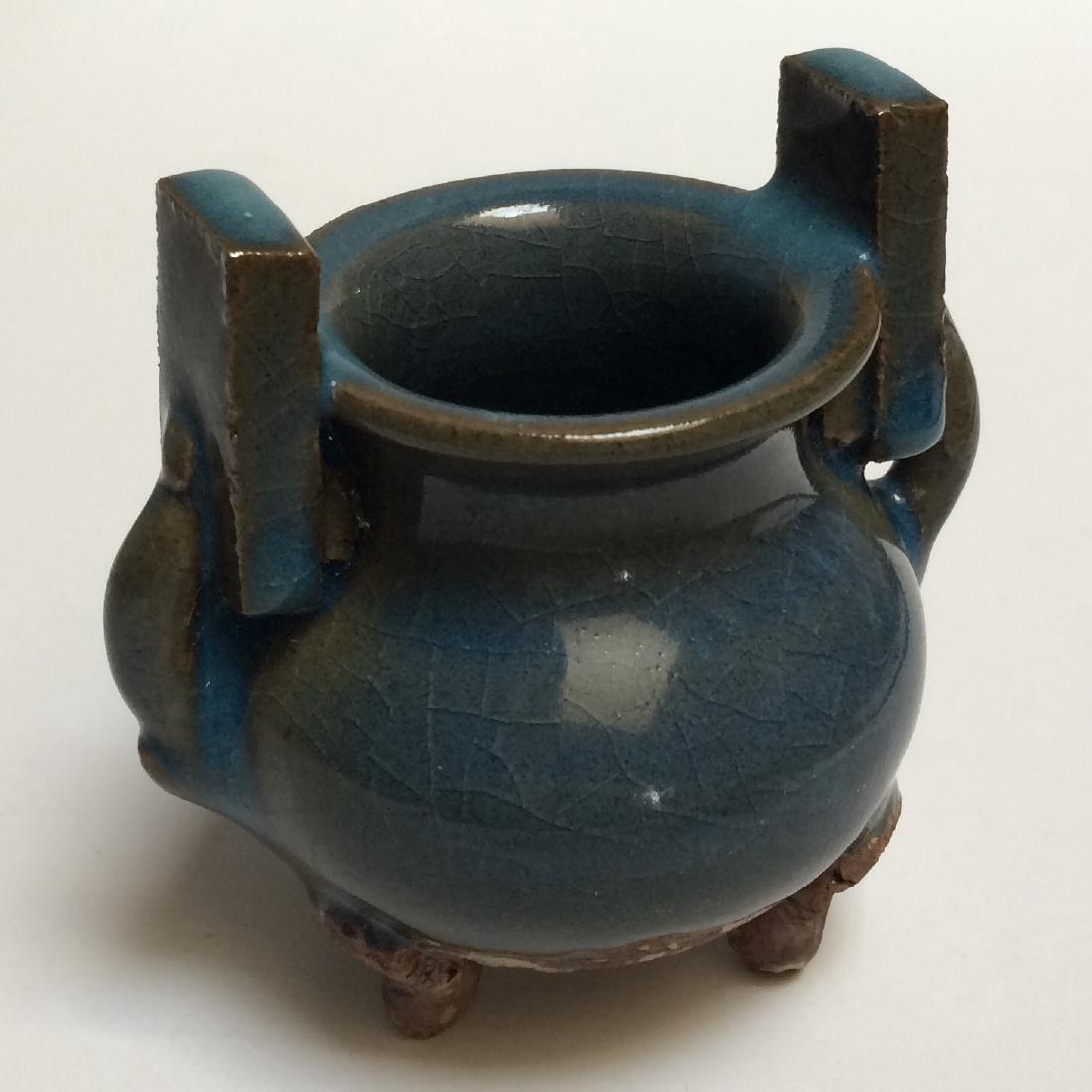"Yuan Dynasty Qun Ware Porcelain Censer (3.5""H) - 3"