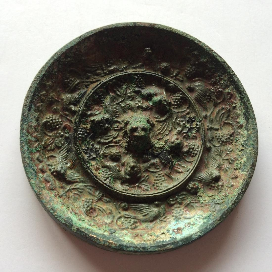 Old Chinese Bronze Mirror, Grapes/Sea Monsters