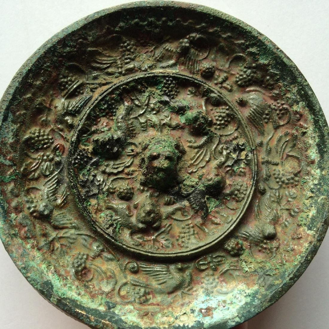 Old Chinese Bronze Mirror, Grapes/Sea Monsters - 2