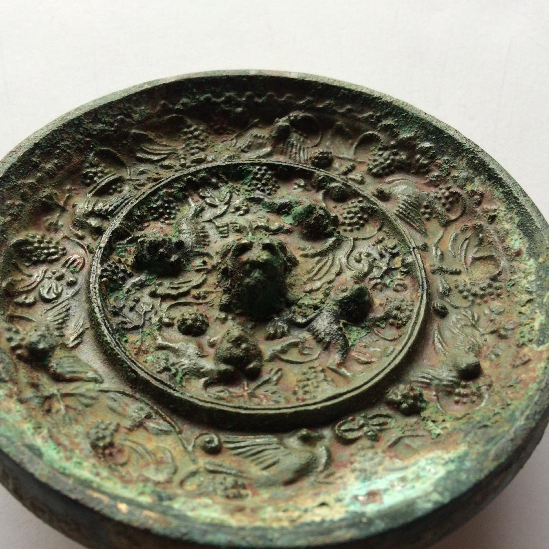 Old Chinese Bronze Mirror, Grapes/Sea Monsters - 3
