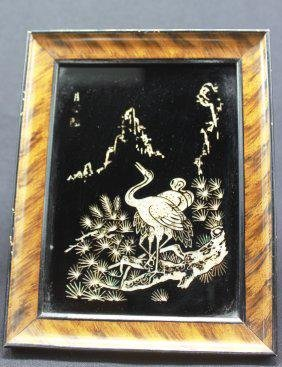 """2 Framed Chinese Mother of Pearl Inlaid Bird (7.5"""" x"""