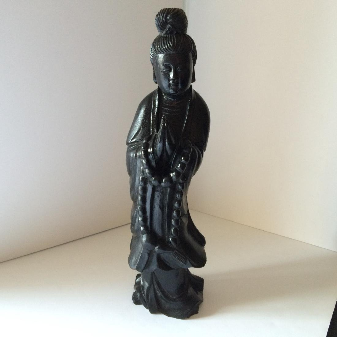 "Chinese Carved Wood Figure Quan Yin (16.5"")"