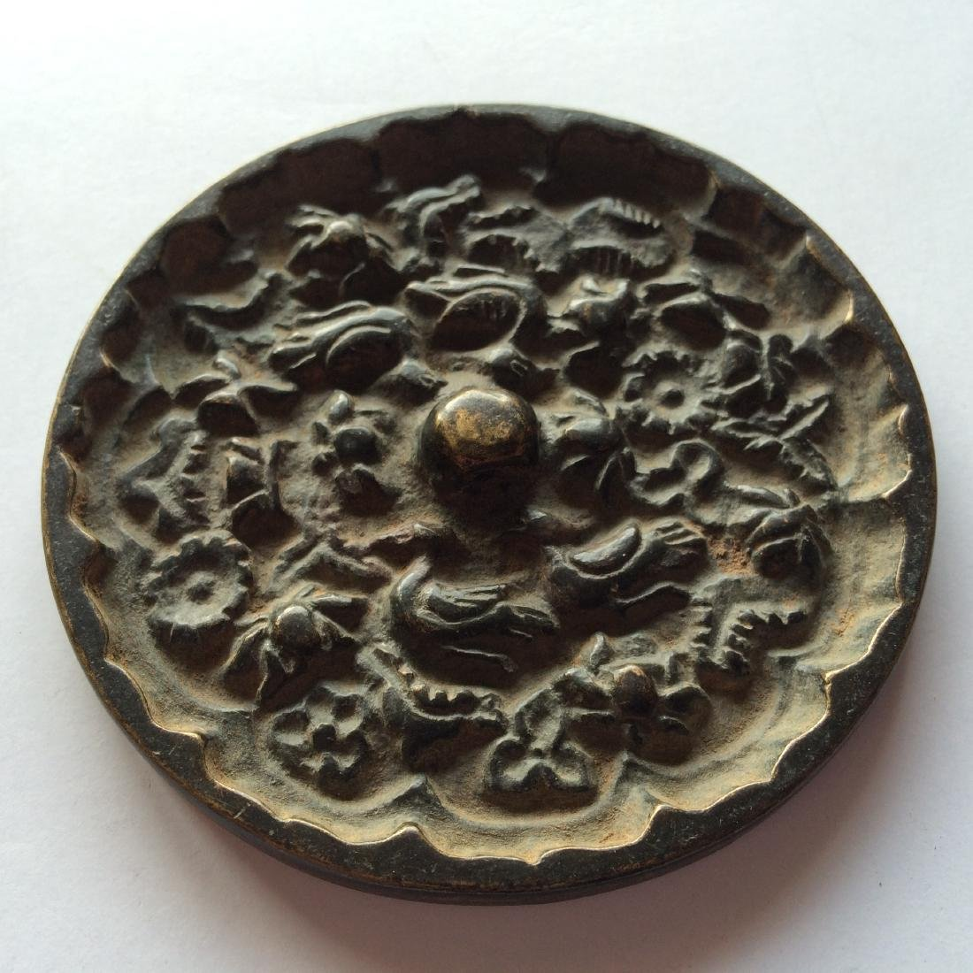 Antique Chinese Bronze Mirror Engraved with Birds
