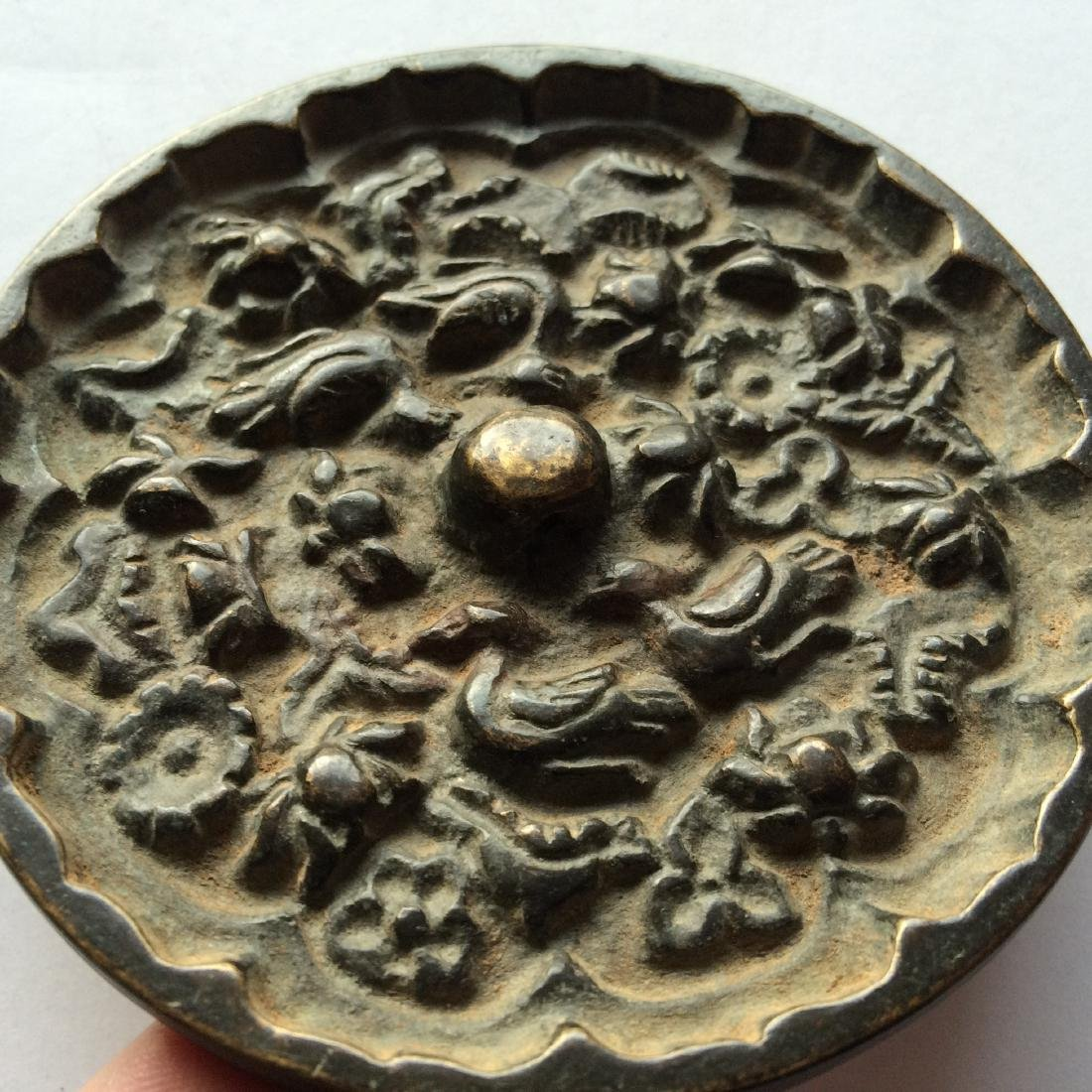 Antique Chinese Bronze Mirror Engraved with Birds - 3