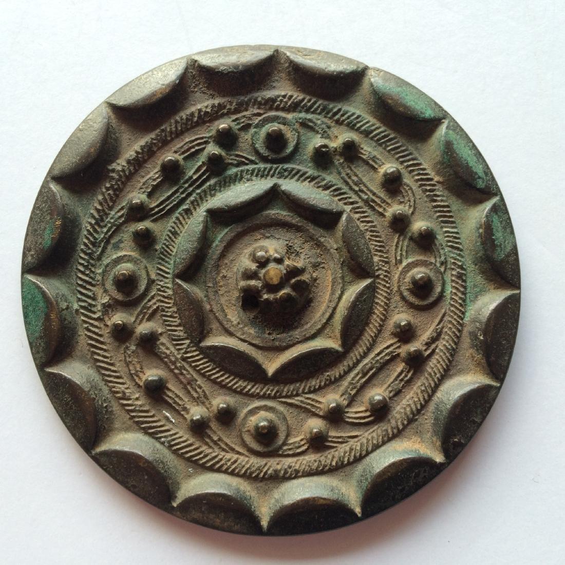 Antique Chinese Bronze Mirror Engraved Design