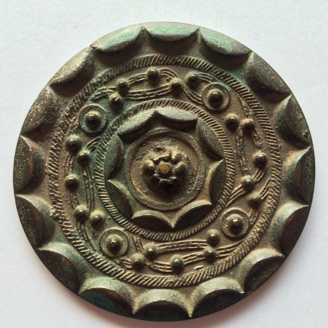 Antique Chinese Bronze Mirror Engraved Design - 5