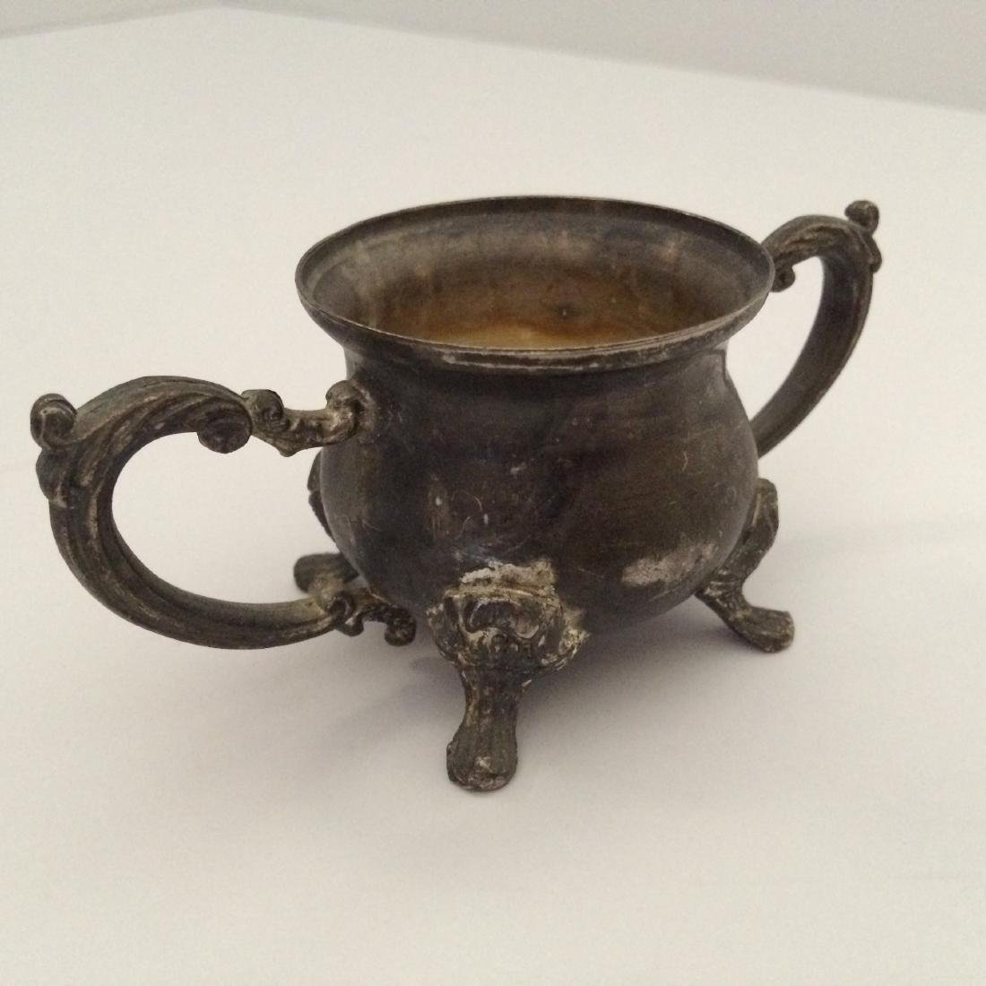 """Chinese Silver Censer Four Legs Wide Handles (4.5""""L) - 4"""