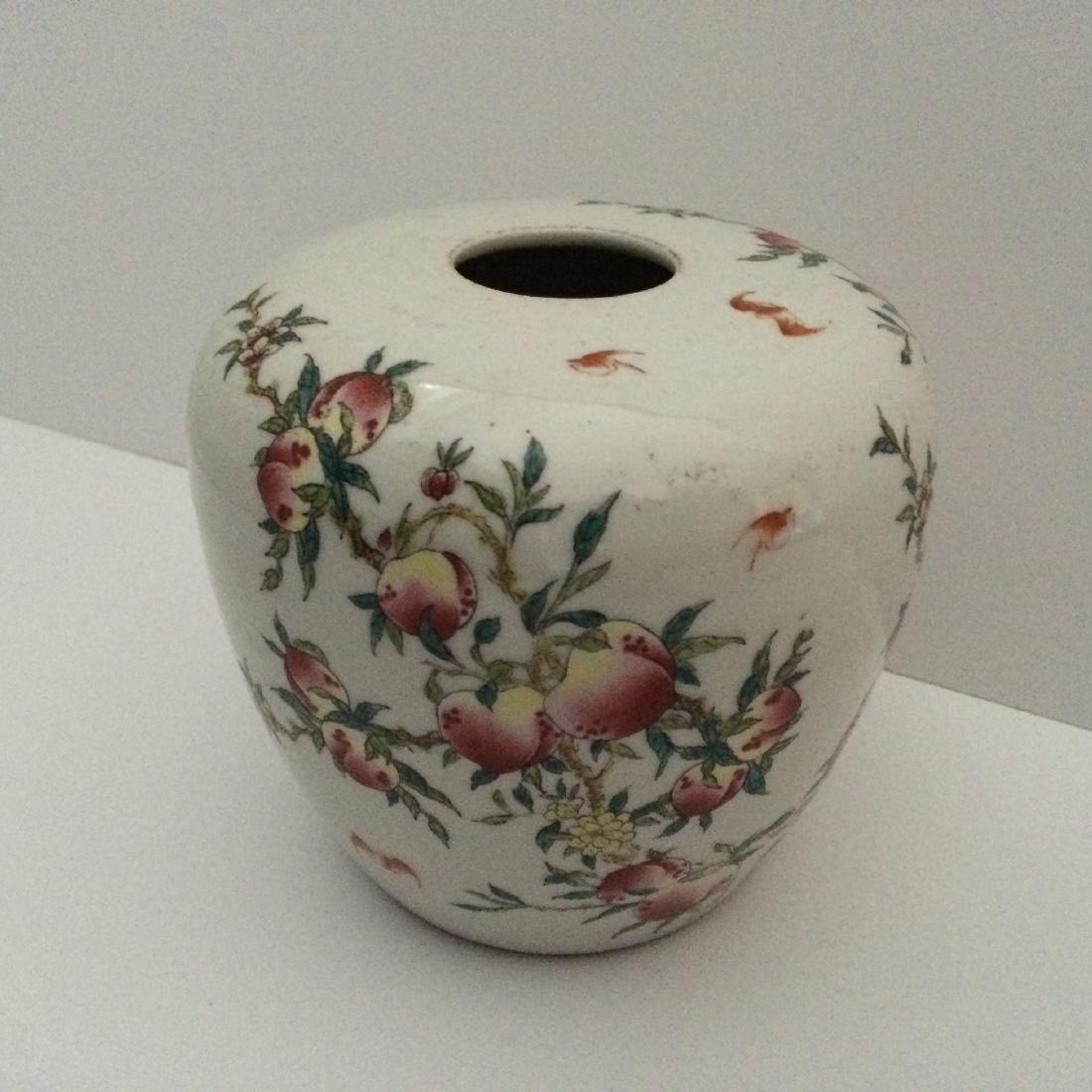 "Chinese Antique Jar, Peaches/Bats, (4.5""H)"