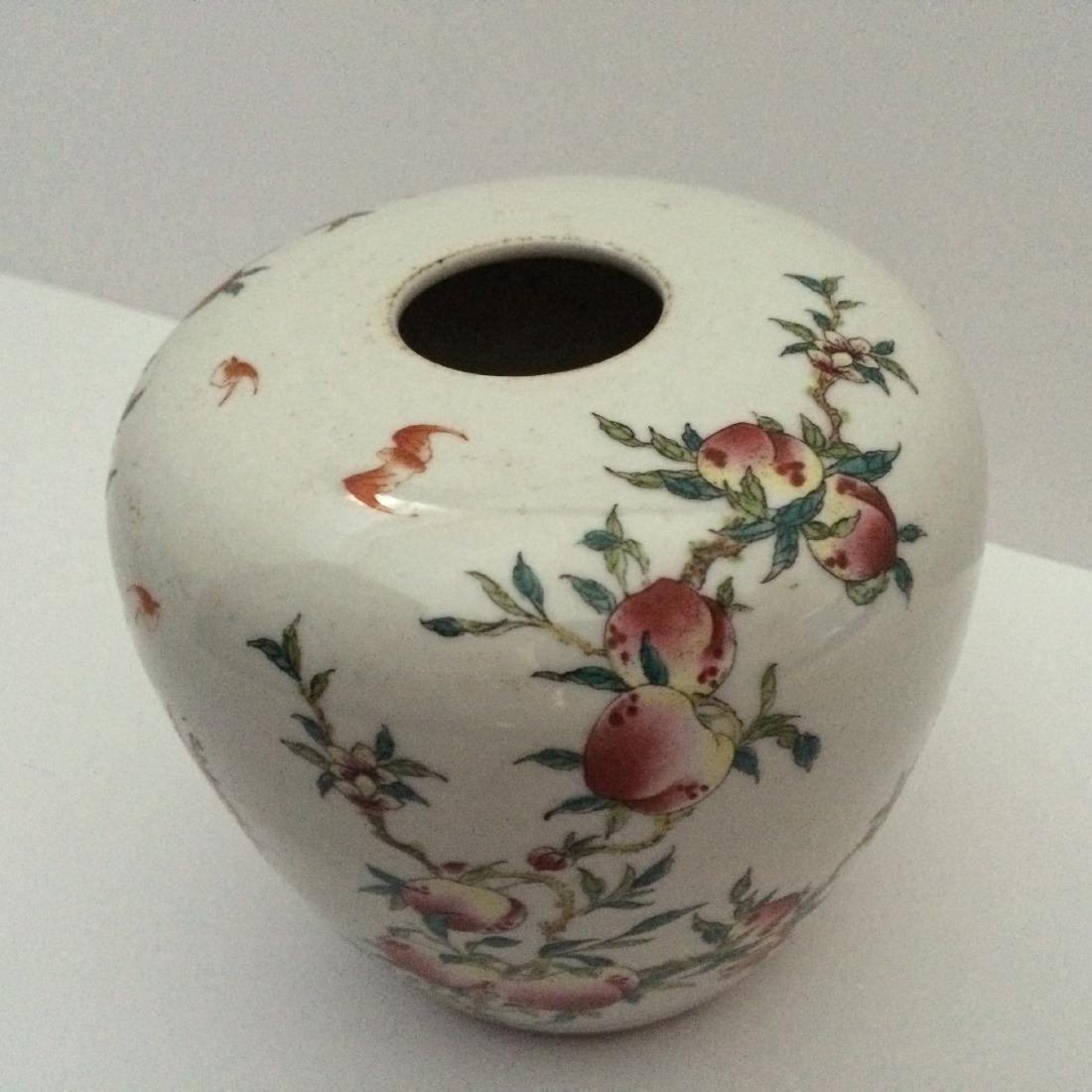"Chinese Antique Jar, Peaches/Bats, (4.5""H) - 5"