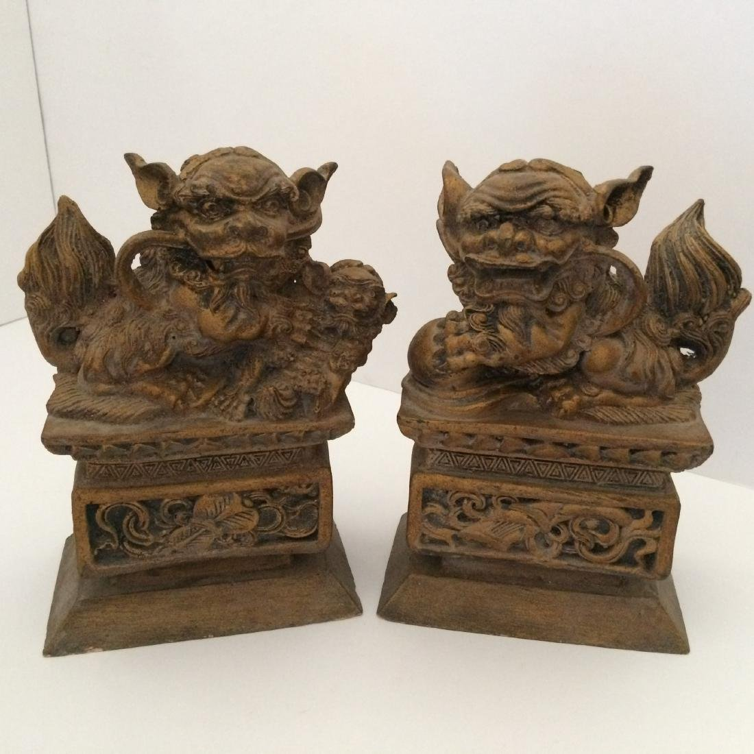 "19th Century Resin/Wood, Pair of Fu Dogs (9""H)"