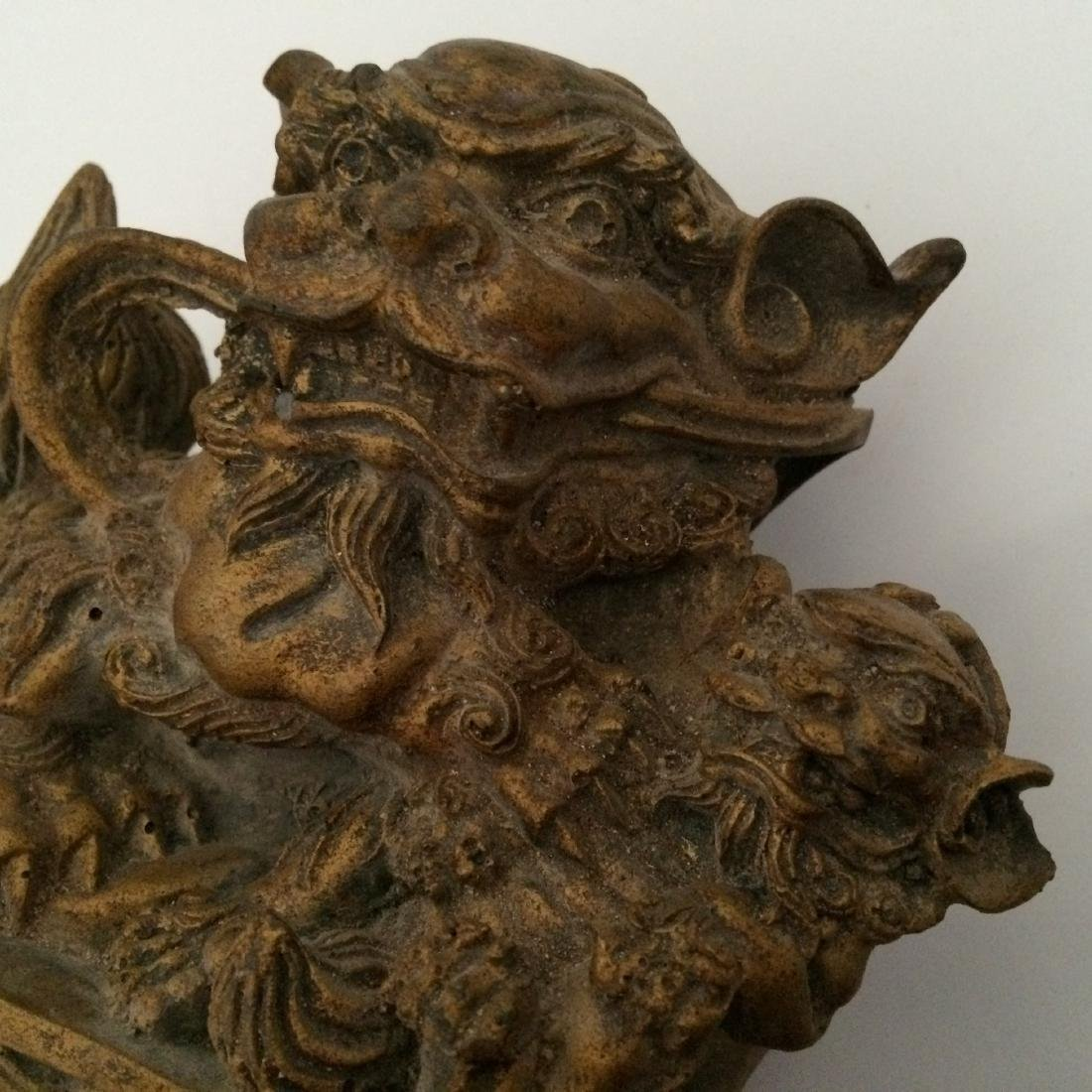 "19th Century Resin/Wood, Pair of Fu Dogs (9""H) - 4"