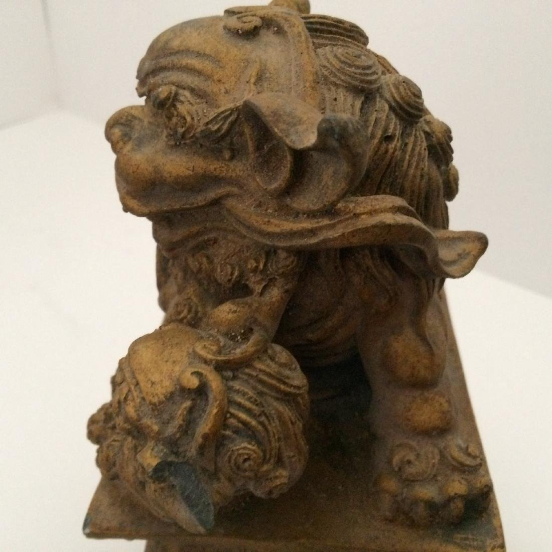 "19th Century Resin/Wood, Pair of Fu Dogs (9""H) - 6"
