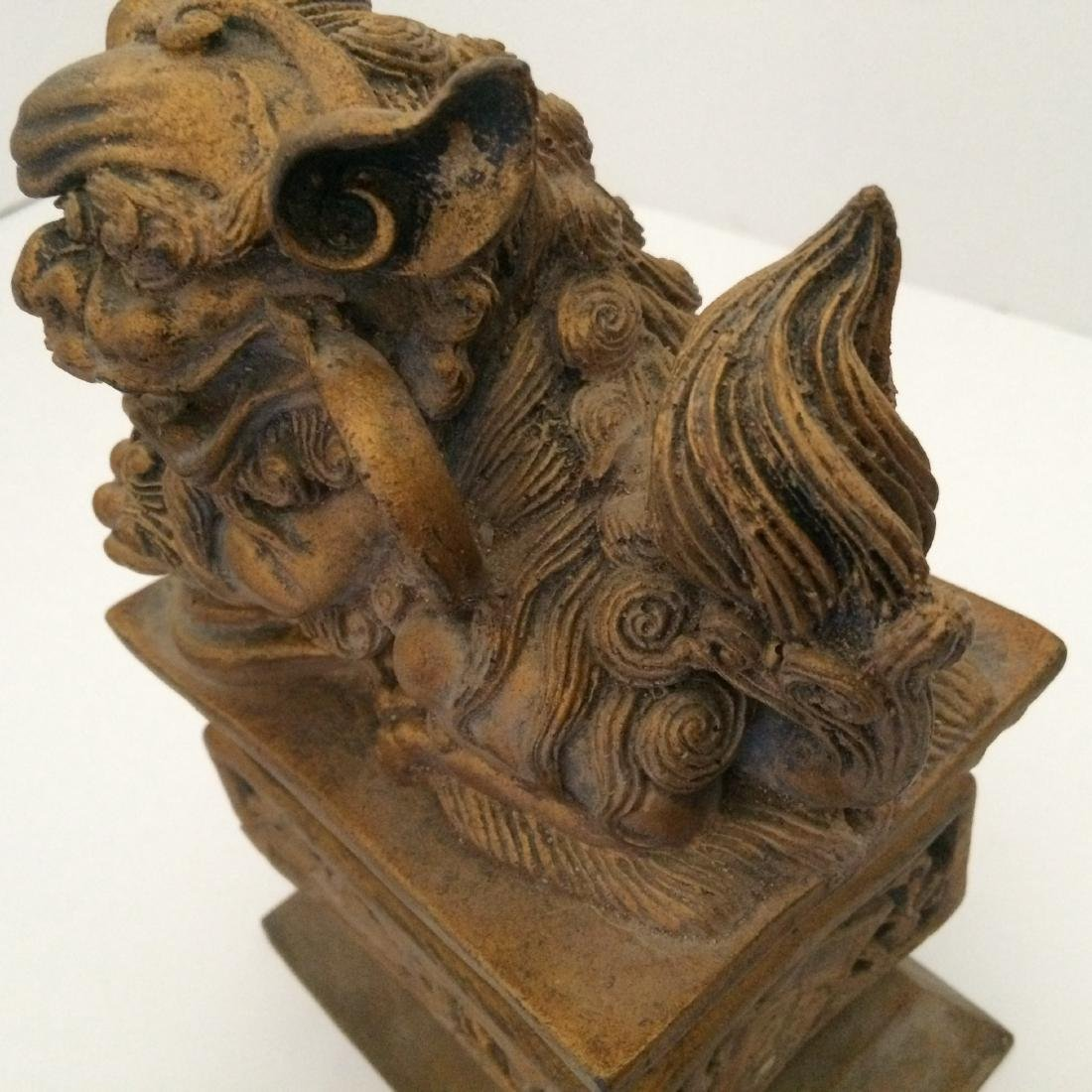 "19th Century Resin/Wood, Pair of Fu Dogs (9""H) - 9"