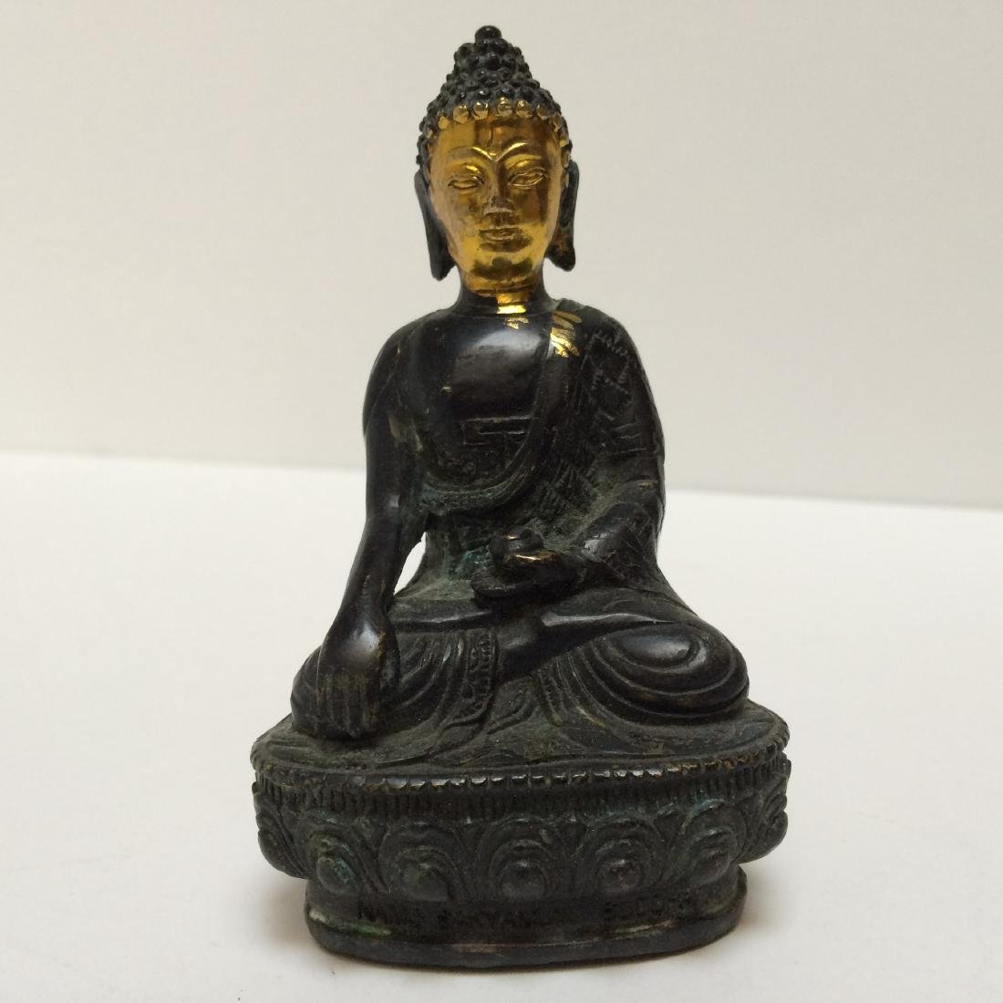 "Chinese Antique Bronze Gilded Buddah  4""h"