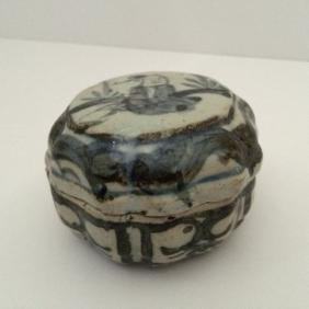 """Old Chinese Porcelain Box with Lid, 3.5""""dia"""