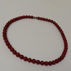 "Red Coral Necklace, 18"" with 8m Beads"