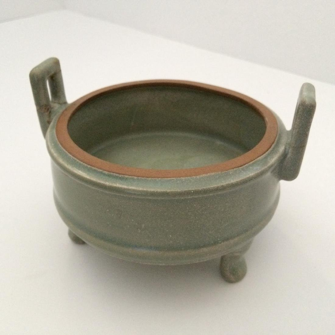 "Old Chinese Yue Ware Incense Burner  4.5""dia"