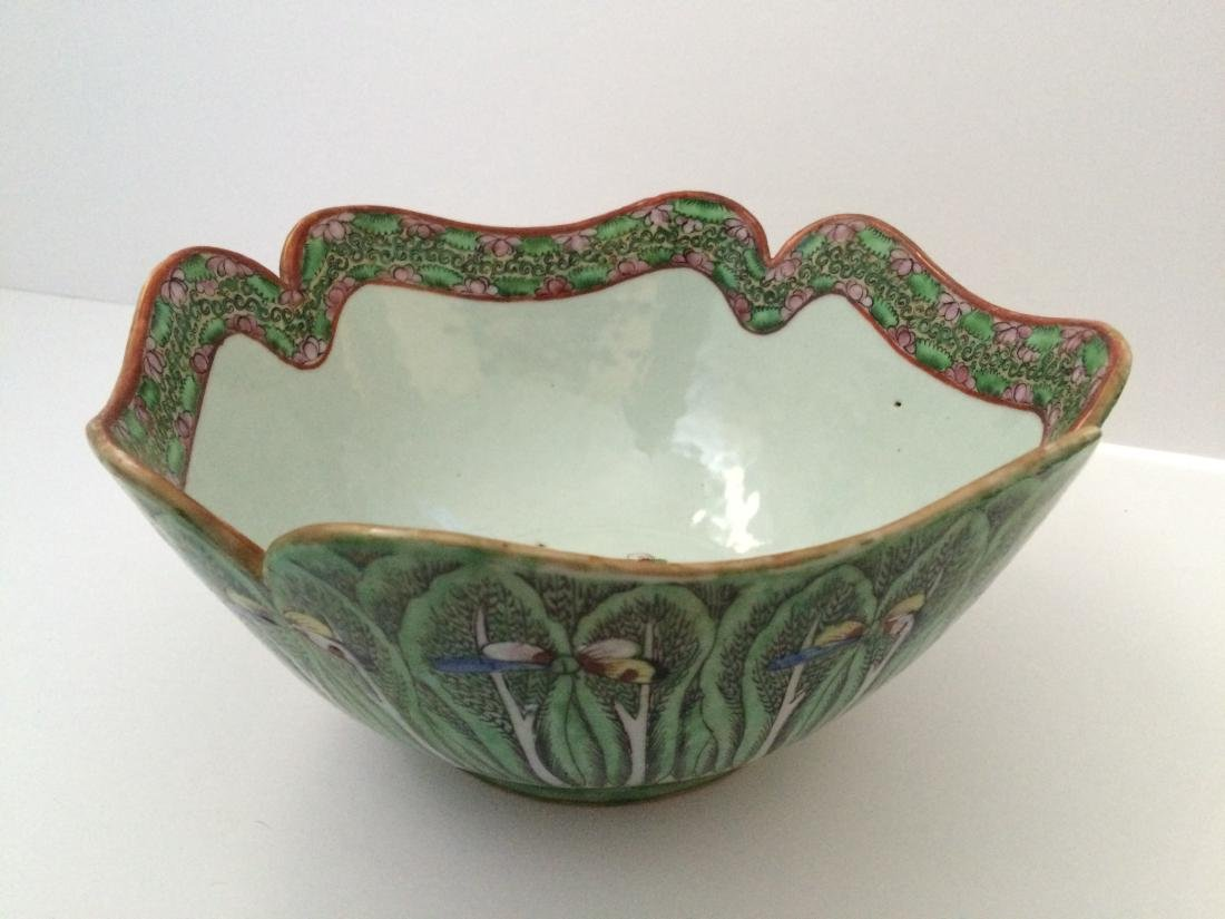 "Old Chinese Porcelain Bowl, Cabbage Shape  9""dia"