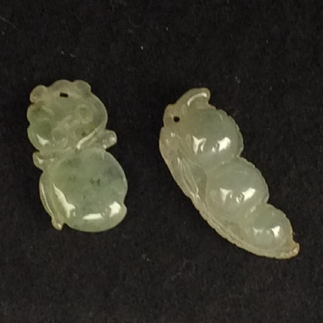 Set of 2 White Jadeite Pendants, Pea Pod/Fruit