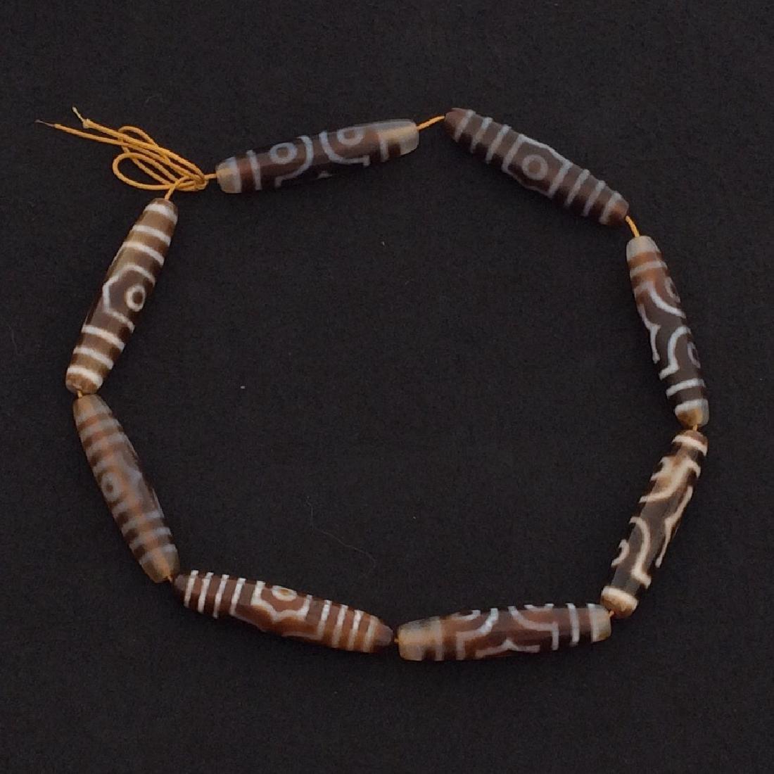 Dzi Beads, 8 Bead Necklace, 3 Eyes
