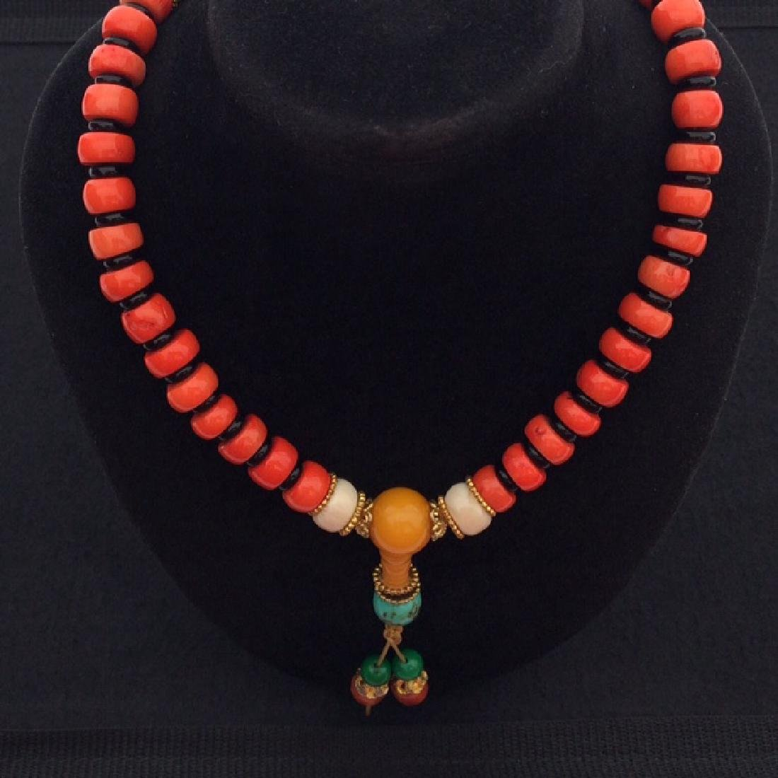 Tibetan Red Coral Bead Necklace
