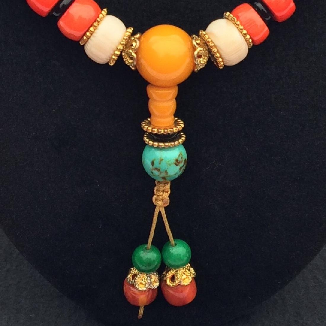 Tibetan Red Coral Bead Necklace - 2