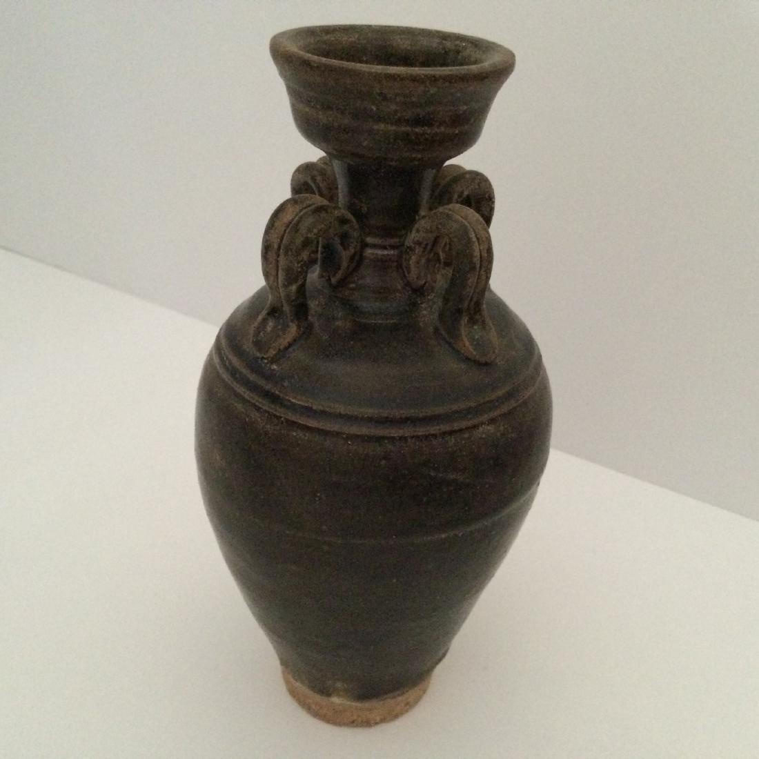 Yuan Dynasty Porcelain Vase 4 Ears, Brown