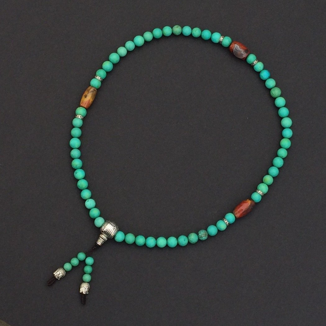 Chinese Turquoise, Nanhong Stone & Silver Necklace