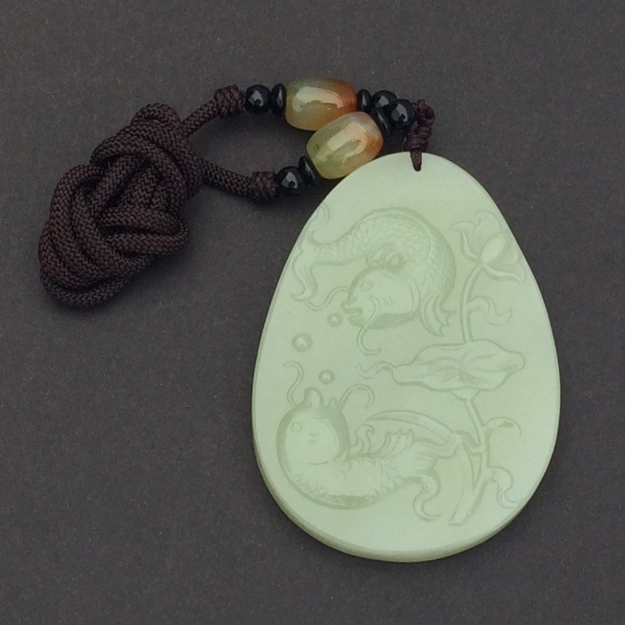 Chinese Certified Green Jade Pendant, 2 Fish