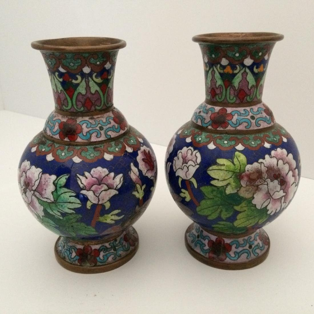 Chinese 2 Antique Cloisonne Flower Vases