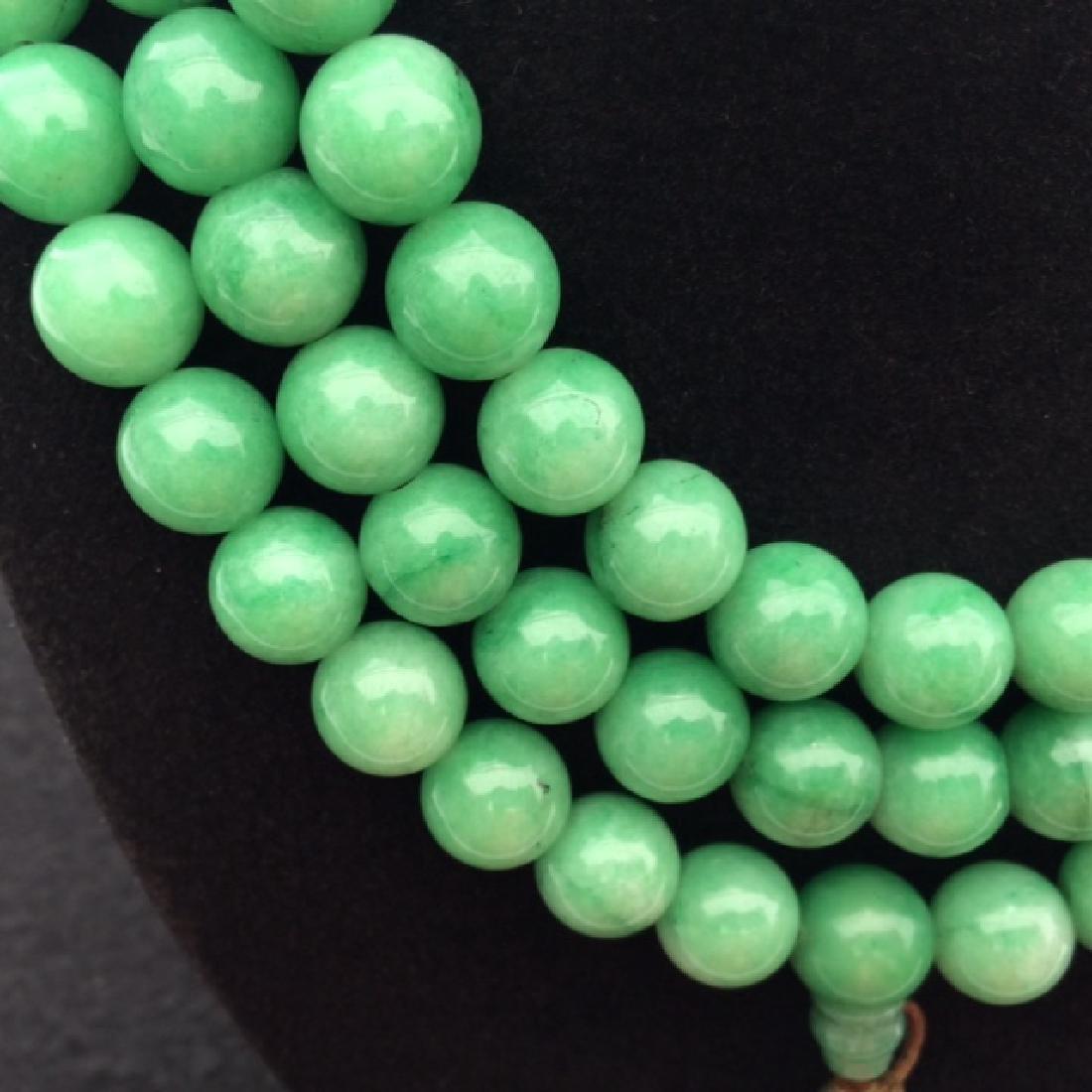 Chinese Green Jadeite Court Bead Necklace - 2