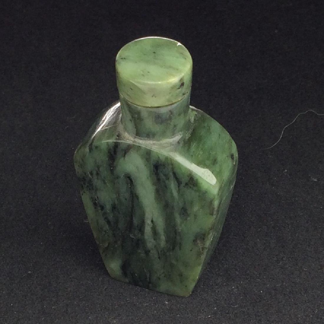 Chinese Chin Dynasty Style Green Jade Snuff Bottle