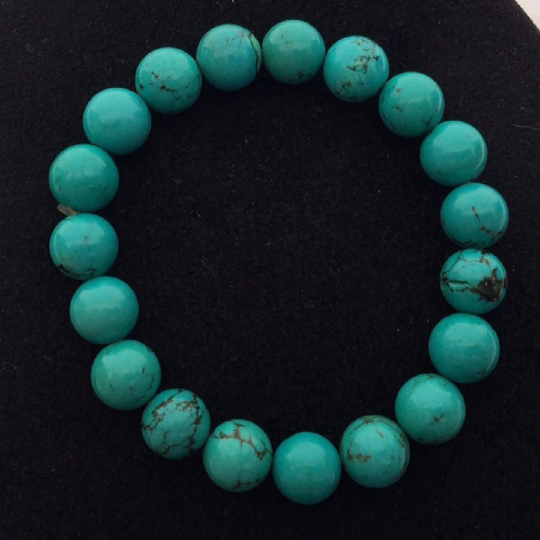 Chinese Turquoise & High Blue Medium Bead Bracelet