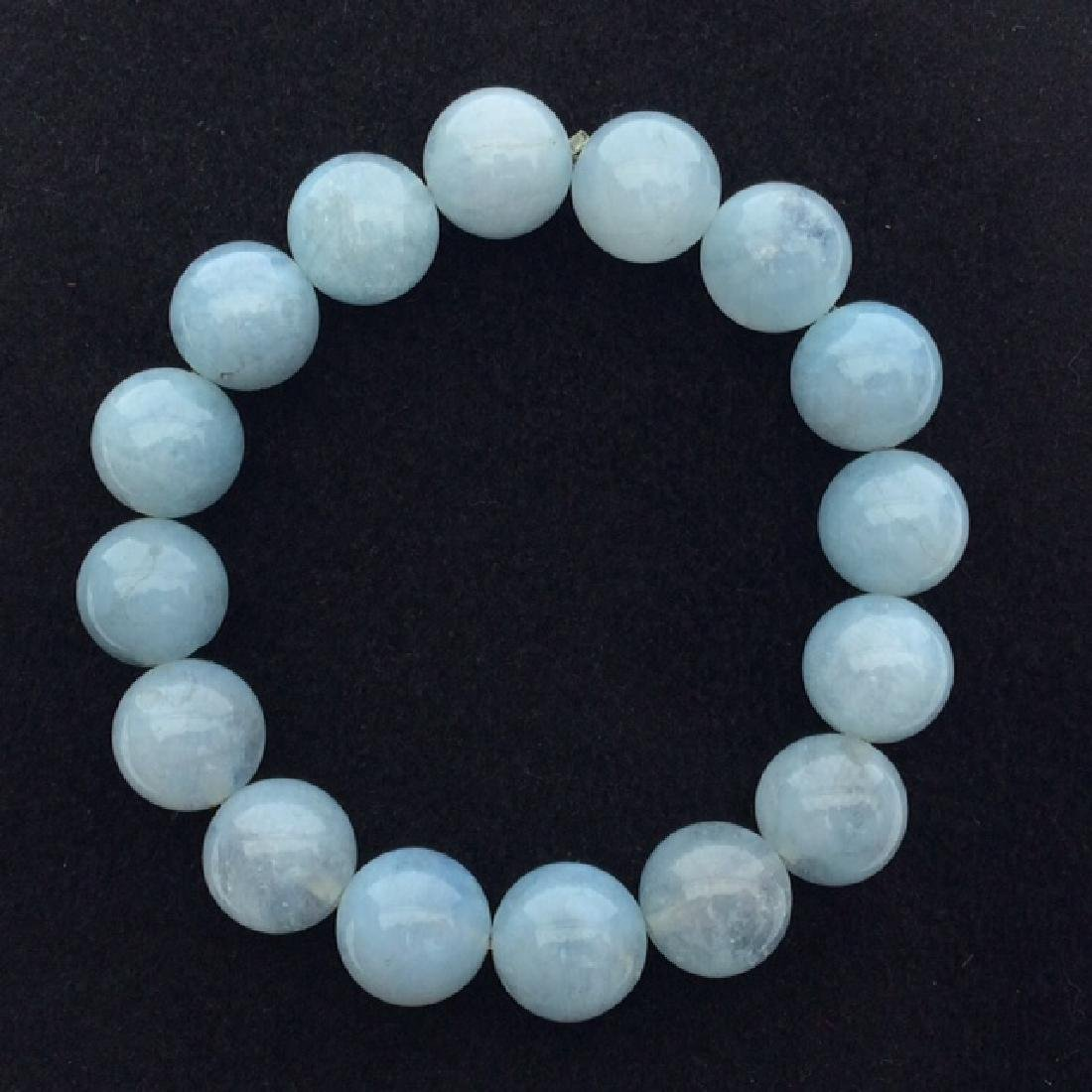 Chinese Natural Blue Agate Bead Bracelet
