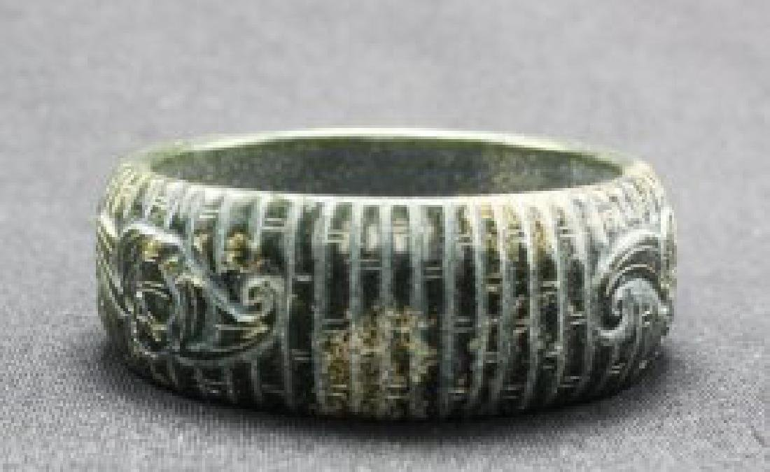 Chinese Old Style Black Jade Carved Bangle