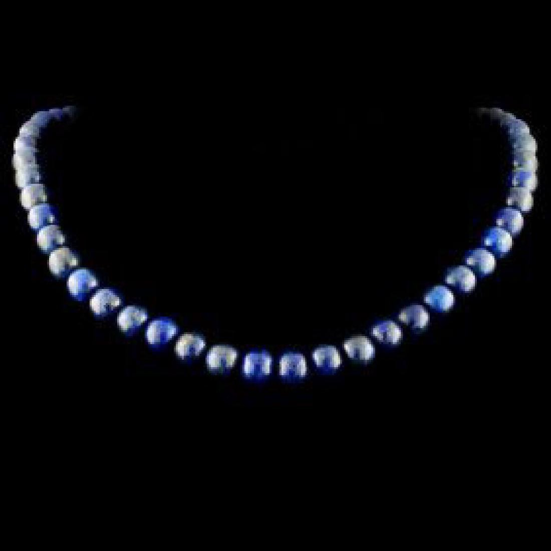 Chinese Lapis Beads Necklace
