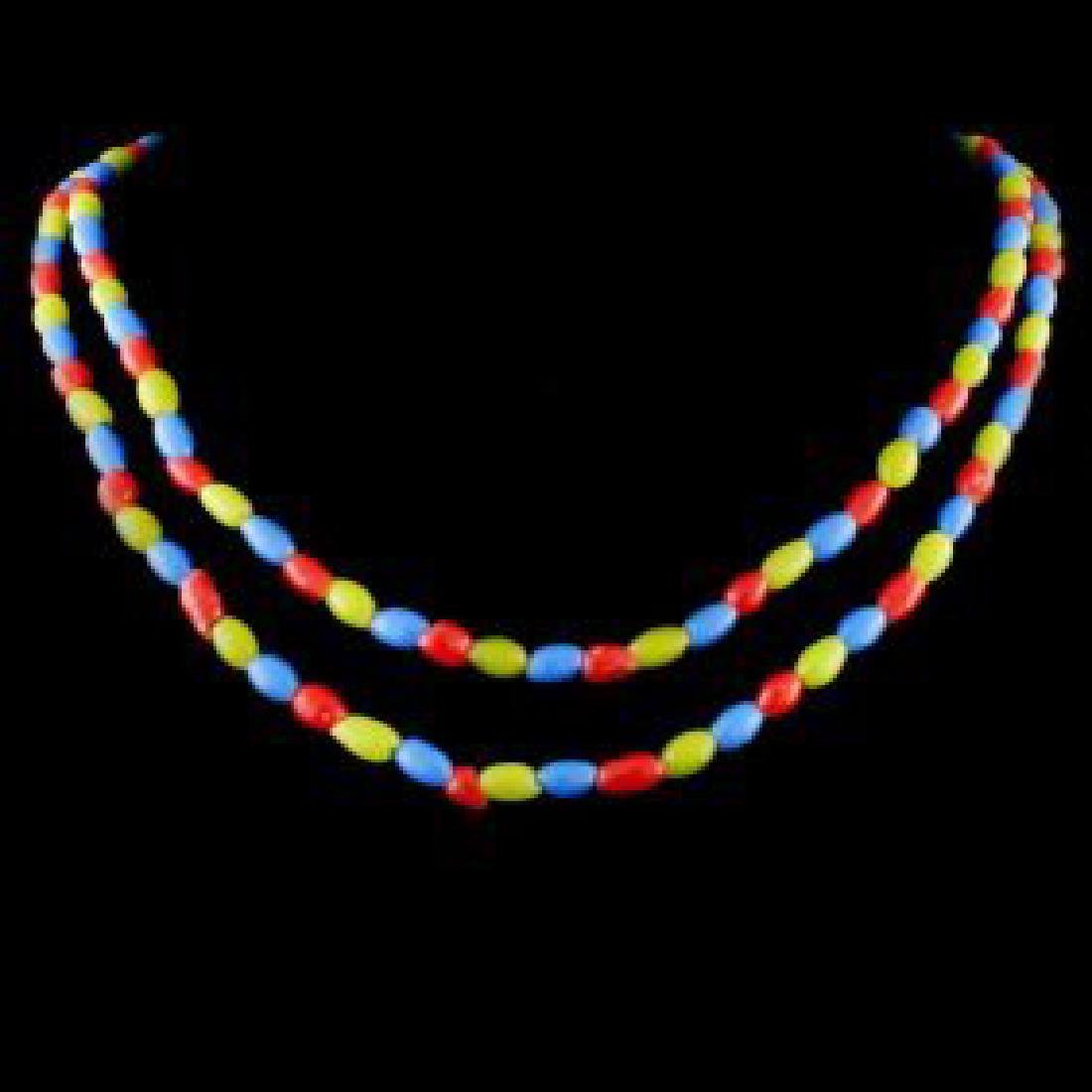Chinese Peking Glass Colored Beads Long Necklace