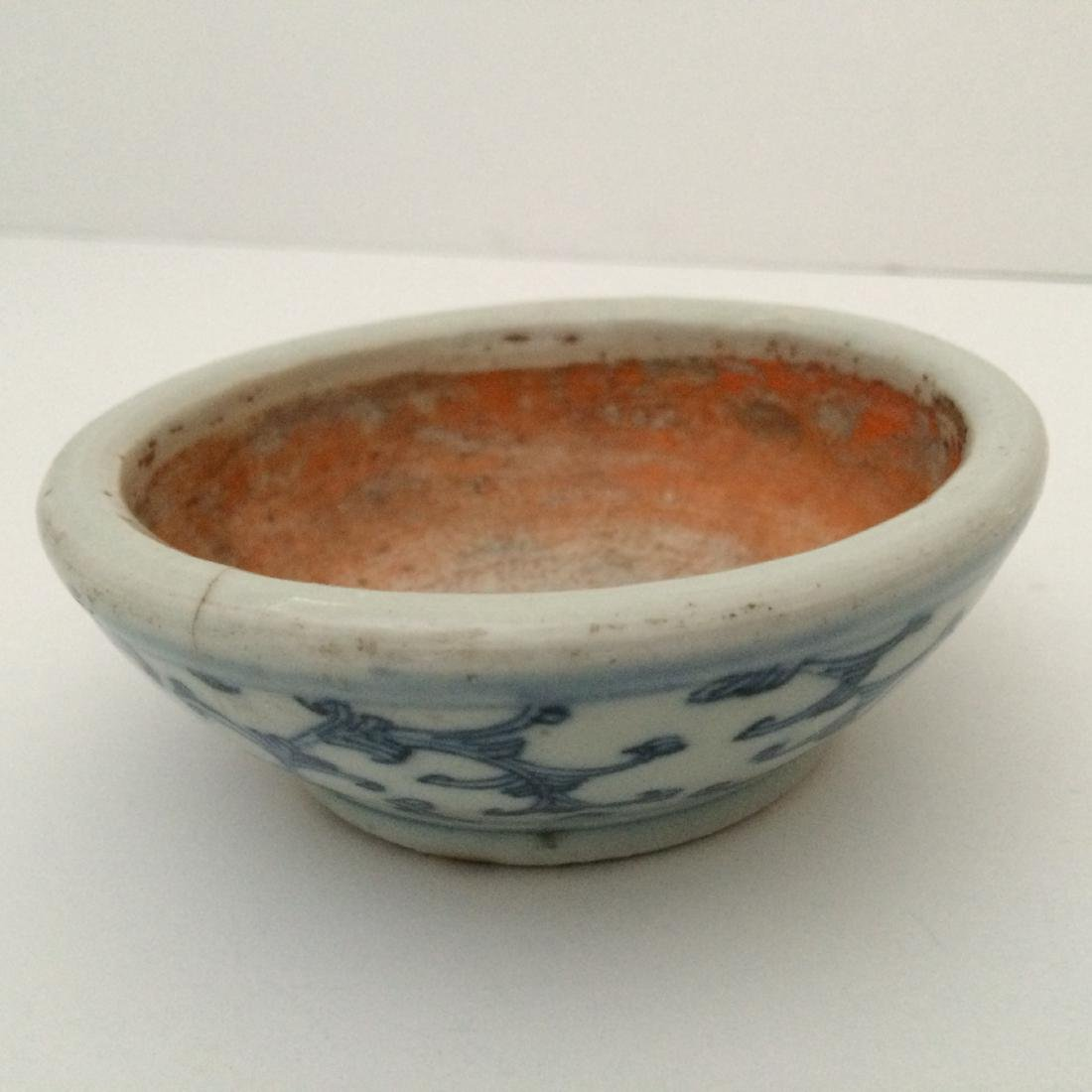 Chinese Chin Dynasty Style White/Blue Porcelain Bowl