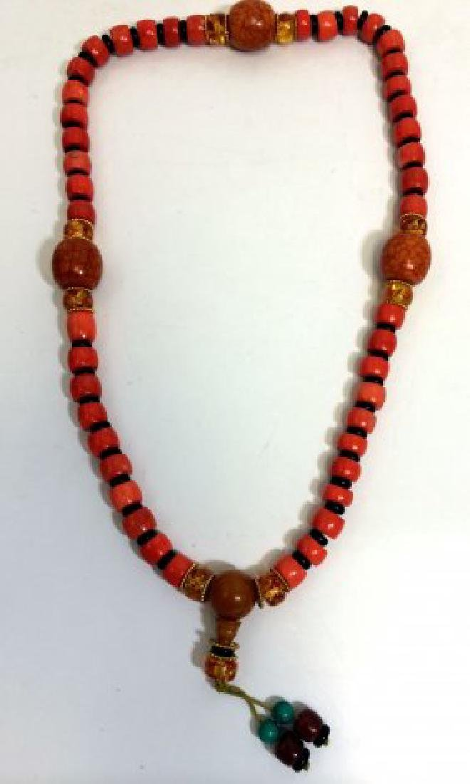 Chinese Nepalese Coral, Turquoise, & Amber Necklace