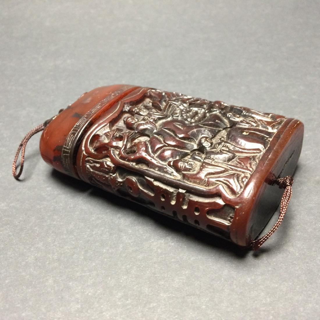 Chinese Old Style Carved Bison Horn Box w Lid - 4