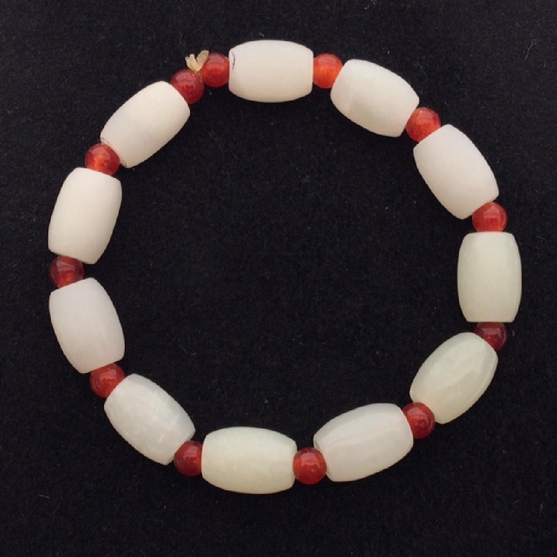 Chinese White Jade & Red Bead Bracelet