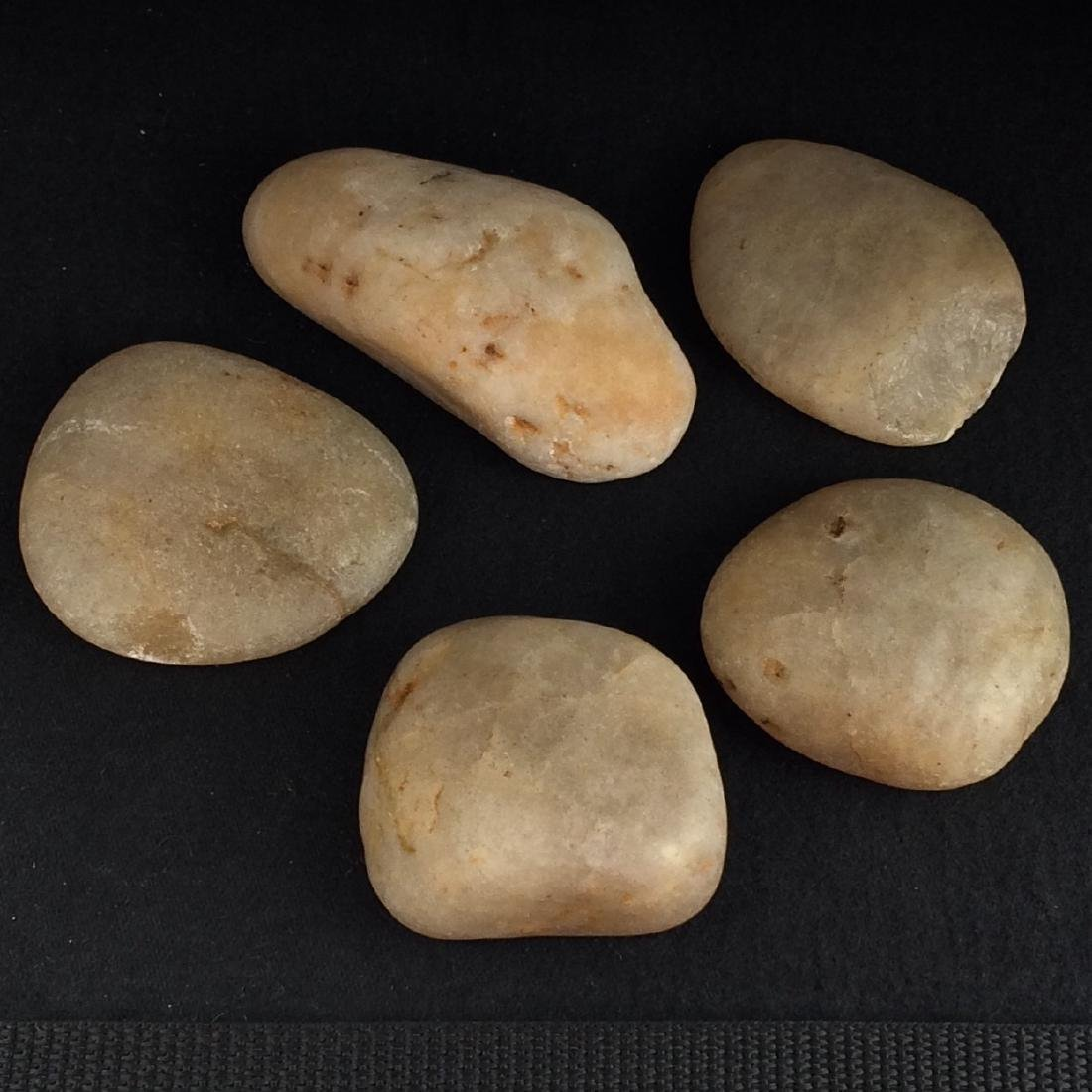 Chinese Large Jade Pebbles Set of 5