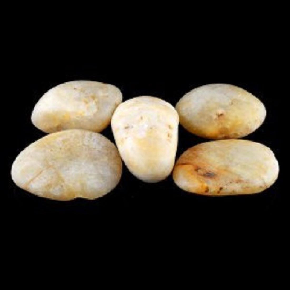 Chinese Large Jade Pebbles Set of 5 - 2