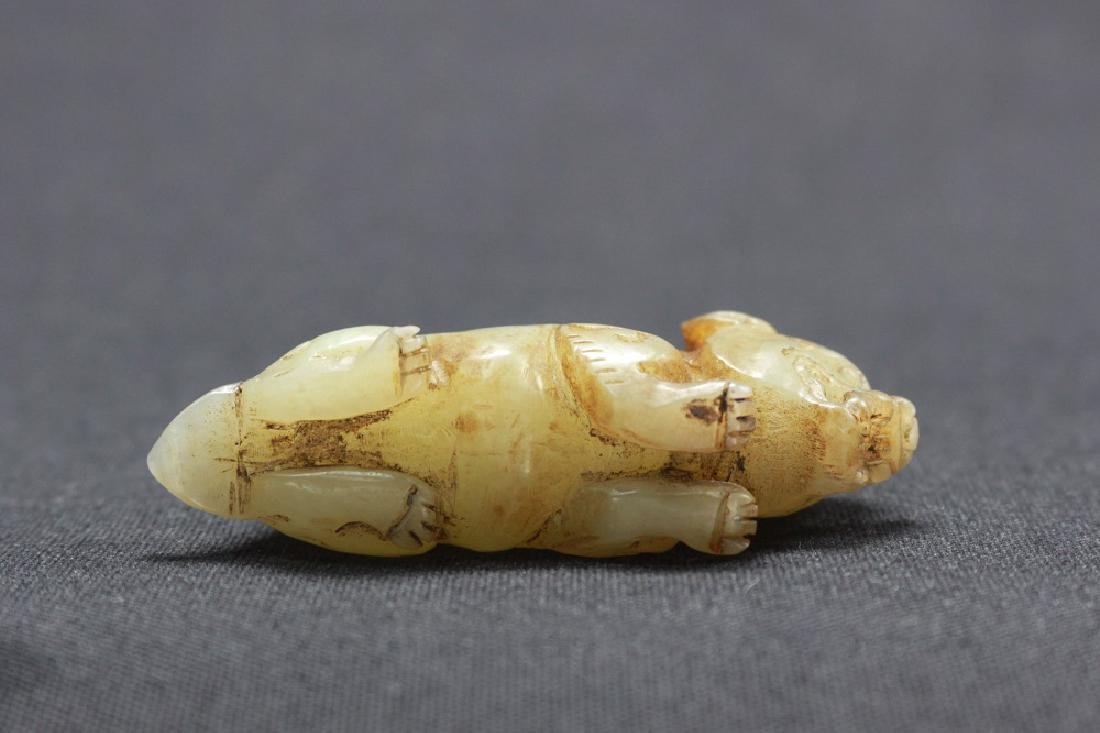 Chinese White Jade Carving of Mystical Dogs - 4