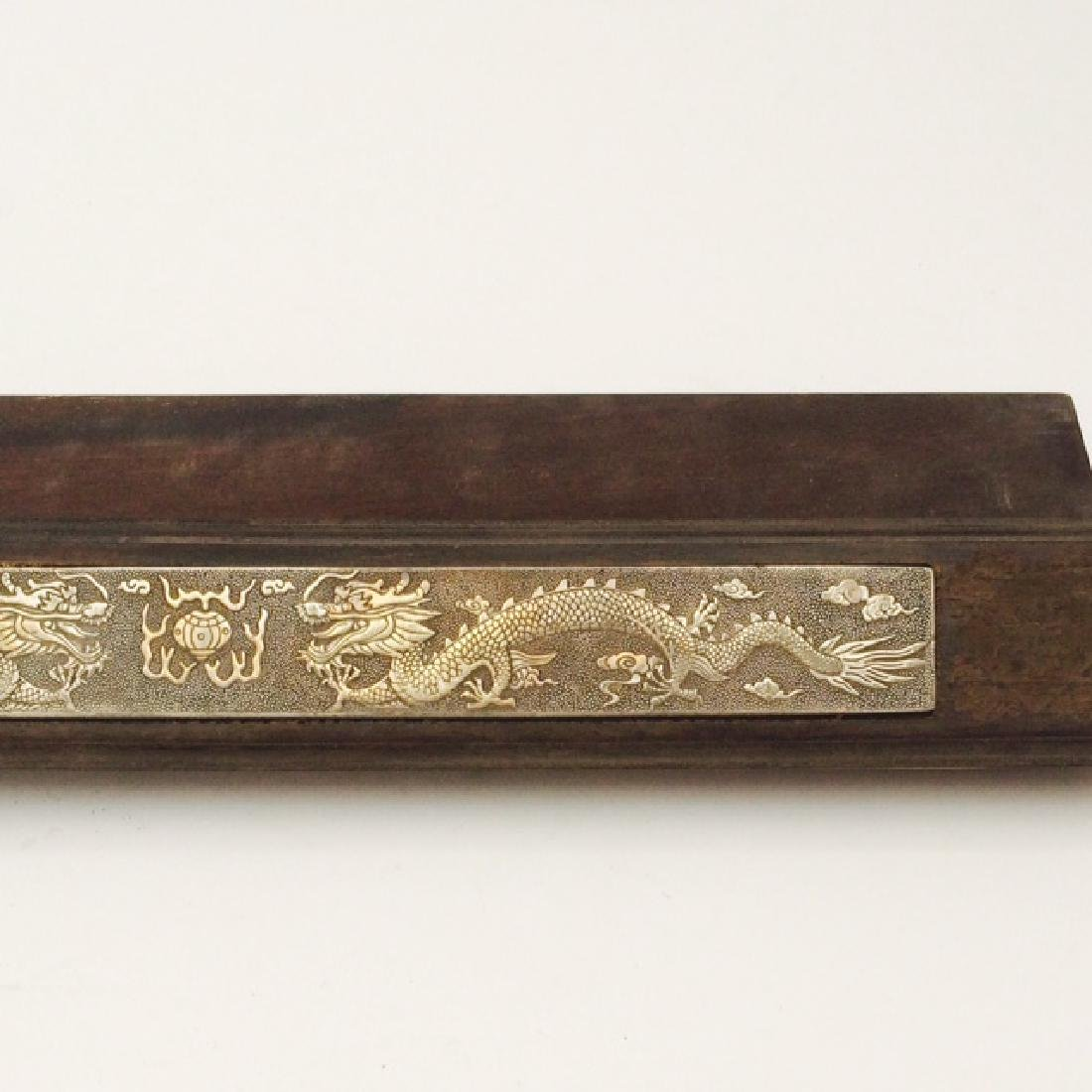 Chinese Qing Dynasty Style Paper Weights w Silver Inlay - 6