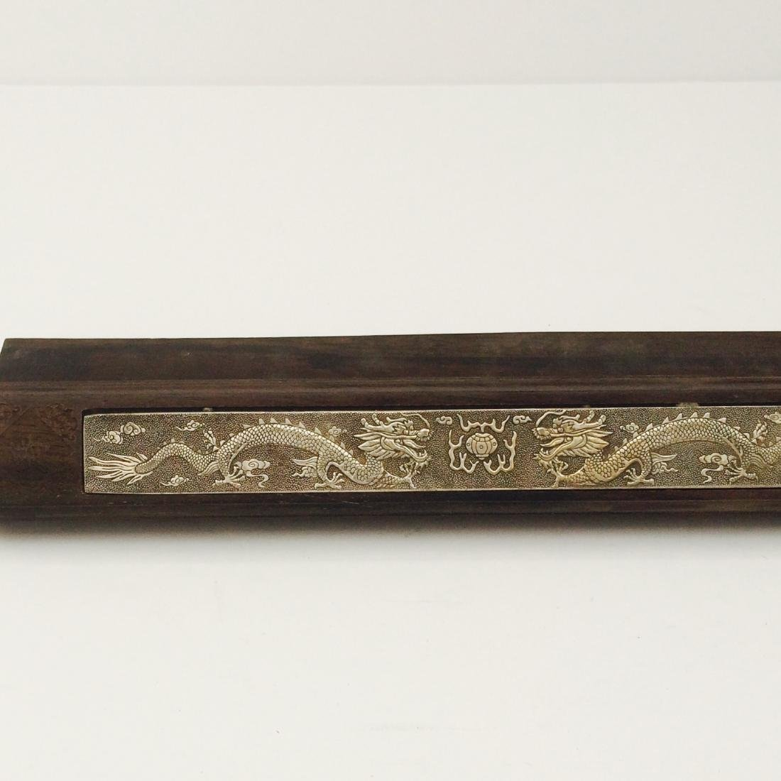 Chinese Qing Dynasty Style Paper Weights w Silver Inlay - 7