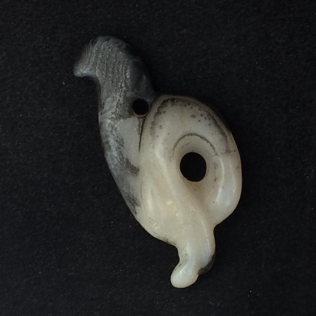 Old Chinese White Carved Jade Pendant, Bird - 2