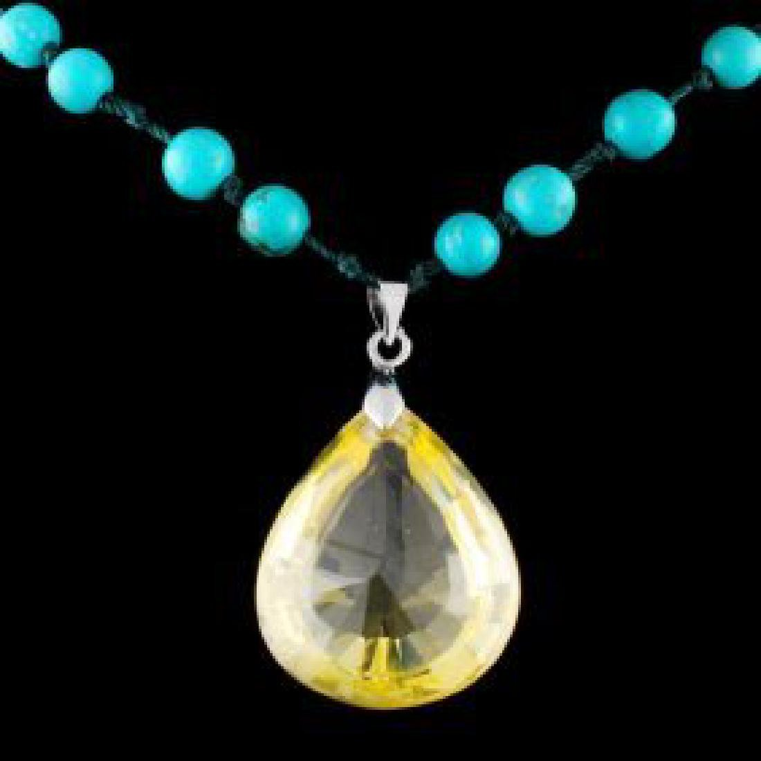Chinese Lapis Beads Necklace w Citrine Crystal