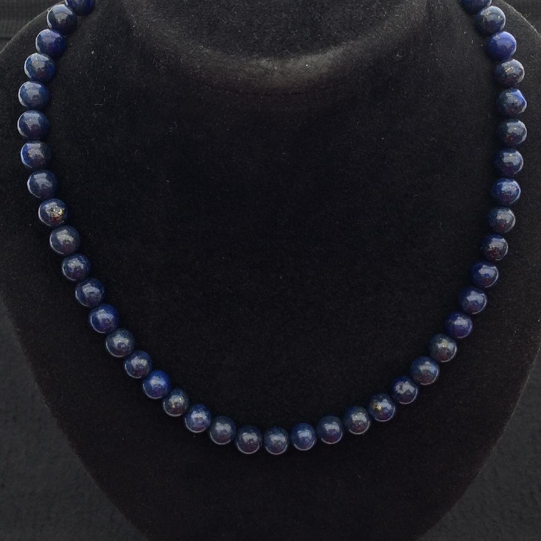 Chinese Lapis Beads Necklace - 2